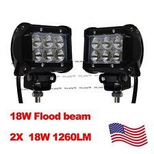 2X 4 inch 18W Cree LED Work Light Bar Flood 4X4 ATV Car Truck Tractor 27W 36W