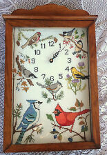 Embroidered Birds on Wall / Shelf Clock - Wood Case / Glass Door 384