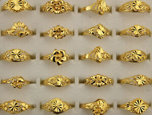 New Wholesale Lots Mixed 80pcs Assorted Alloy Women Lady Rings Gold P Jewelry