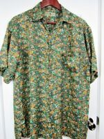 Robert Stock Men's Medium Hawaiian Shirt 100% Silk Camouflage Print Shirt