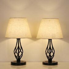 Traditional Table Lamps Set of 2 Dark Bronze Metal  Drum Shade for Living Room