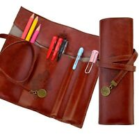 Leather Pen Bag Pencil Case Pouch Vintage Rollup Pencil Bag Holder Organizer