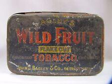 Antique Tobacco Tin Bagleys Wild Fruit Tobacco Metal Tin Partial Stamp Detroit