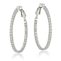 925 Sterling Silver 35mm Inside Out Cubic Zirconia Hoop Earrings