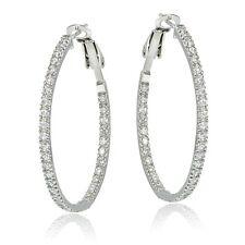 925 Sterling Silver 35mm Inside Out Cubic Zirconia Hoop Earrings