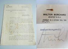 Architekt Walter BORCHARD (1887-1948): Sign. Brief BERLIN 1931 // Dywidag