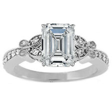 Emerald Cut Diamond Butterfly Vintage Engagement Ring  White Gold - GIA Flawless