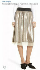 Free People Gold Sequined Skirt, Size Medium, NWT