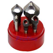5 PC HSS 82 Degree Countersinks & Deburring Tool Set Straight Shank 1/16-9/16