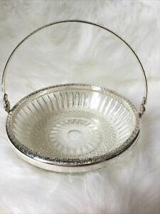 Vintage Decorative Glass & Silver Plated Bonbon Dish With Handle