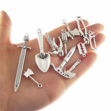 Lot of 12 DIY Jewelry Making Vintage Silver Metal Hardware Tools Pendants Charms