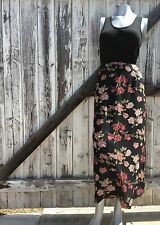 Women's Vintage Black and Pink Floral 90's Maxi Skirt Size Small