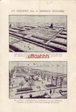 Continental-size DRAWINGS HANGING GARDENS OF BABYLON & HANGING GARDENS OF LONDON