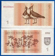 Lithuania P-39 1 Tolonas Year 1992 Uncirculated Banknote Europe