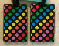 NWT G Force 2-pk PVC Multicolor Dots Luggage Tags Travel Bag Tote Accessories