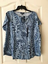 Womas New Blue Short Sleeve Top size XL by Chaps