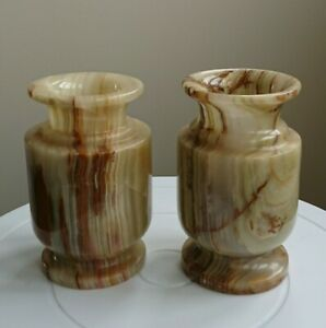 Superb Pair Of Onyx Marble Candlesticks, Amazing Quality, 11cm. Exc. Gradiants.