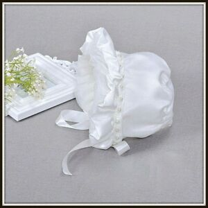 BABY GIRLS-CHRISTENING SATIN IVORY BONNET HAT-SPECIAL OCCASION PEARLS LACE