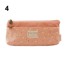Flower Canvas Pencil Case Cosmetic Makeup Coin Pouch Zipper Bag Purse Morden