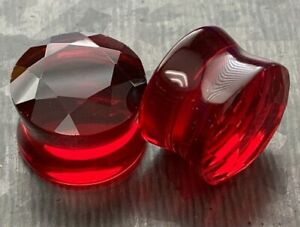 PAIR Faceted Glass Double Flare Plugs Gauges Earlets Body Jewelry
