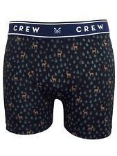 Mens Crew Xmas Reindeer Print Stretch Cotton Boxer Shorts Underwear S M L XL