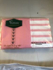 """wamsutta lustercale two pink striped standard size pillowcases 42""""X38"""""""
