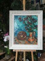 ILDA TODE -tableau huile sur toile -Nature morte au bouquet -