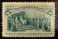 US Stamp Scott #238 Mint OG H 15 Cents Columbian Expo 1893 Green