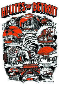 "VERY  NICE MINT 1969 ROBERT  R. CRUMB ""HI-LITES OF DETROIT"" POSTER FIFTH ESTATE"