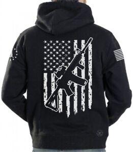 AR-15 American Flag Hooded Sweat Shirt ~ Gun Rights Hoodie ~ 2nd Don't Tread