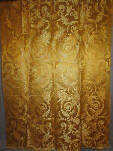 THREE HEAVY YELLOW GOLD BROCADE SATIN PANELS, EARLY 20TH CENTURY