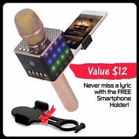 Wireless Karaoke Microphone - Portable KTV Machine with Speaker H8 2.0 Rose Gold