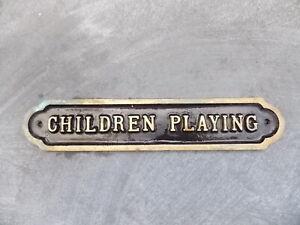 CHILDREN PLAYING Stylish Cast Brass Sign Black Background 4.5 x 23.5cm x 7mm