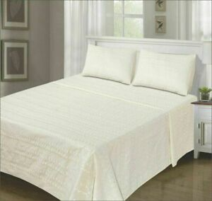 SUMMER Flat Cotton Bed Sheet Embroidered With Pillowcases Cream