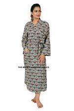Ladies Lightweight Summer Bath Robe 100% Cotton Indian Dressing Gown House Coat