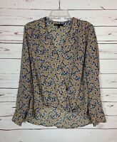 Gibson Nordstrom Women's S Small Navy Gold Long Sleeve Spring Top Blouse Shirt