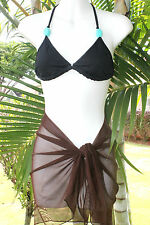 SOLID BROWN SHORT MESH SARONG PAREO Beach Cover-up Wrap Skirt ~ MADE IN U.S.A.