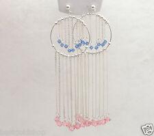"3.5"" 13.4gr Waterfall Dangle Earrings with Gemstones Real 925 Sterling Silver"