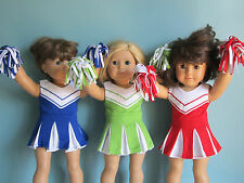 LIME GREEN CHEERLEADER OUTFIT with Matching POMPOMS & Undies fits American Girl