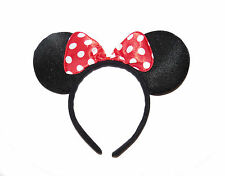 **NEW** BLACK AND RED POLKA DOT SPARKLE MINNIE MOUSE EARS - ADULT HEADBAND  HEN