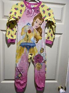 Disney Princess Belle Magical Castle Floral Size 7//8 Fleece Pajama Sleeper