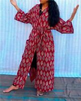 H10 Ajrakh Cotton Japanese Kimono Robes, Hand Block Print Fabric,Dressing Gown