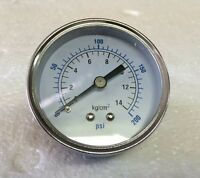 "Air Compressor Pressure/Hydraulic Gauge 2.5"" Face Back Mount 1/4"" NPT 0-200 PSI"