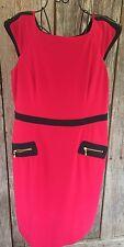 JOSEPH Ribkoff Red Black Zipper DRESS SZ US 16 Lined