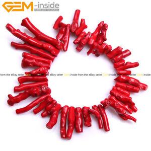 "Coral Stone Beads Irregular Spike Sticks Beads For Jewelry Making 15"" Jewelry"