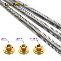 T8 Lead Screw Lead 2/4/8mm Trapezoidal Spindle Screw+Nut For CNC 3D Printer Part