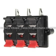 New 6-Way Speaker Terminal Strip Block Spring Push Release Stereo Plate Release