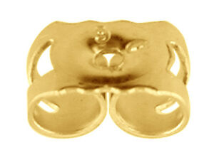 real 375 9ct yellow gold scrolls butterfly backs stud drop earring stem fitting