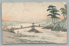 """Fuji Kawa"" Original Ukiyo-e Painting Postcard—Rare Antique Handpainted 1908"