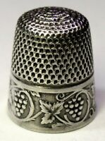 """Antique Stern Bros & Co Sterling Silver Thimble  """"Scrolling Grapevines""""  C1900s"""